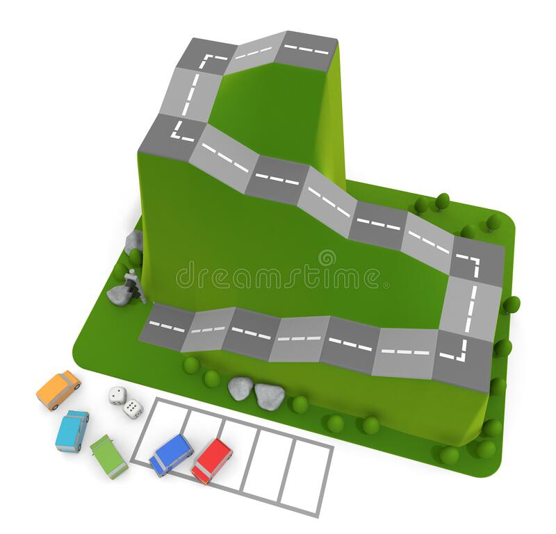 3D illustration. Car board game. Driving school dice game. stock illustration