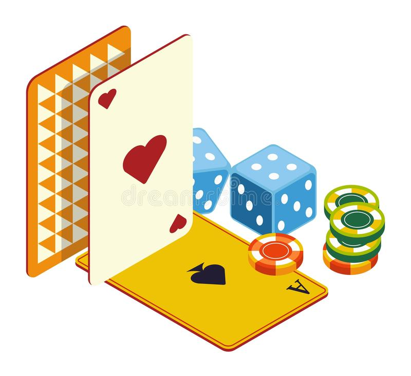 Play cards and poker chips, dices, casino online club. Casino online, poker club and gambling games, play cards and poker chips, dices isolated icon. Blackjack vector illustration