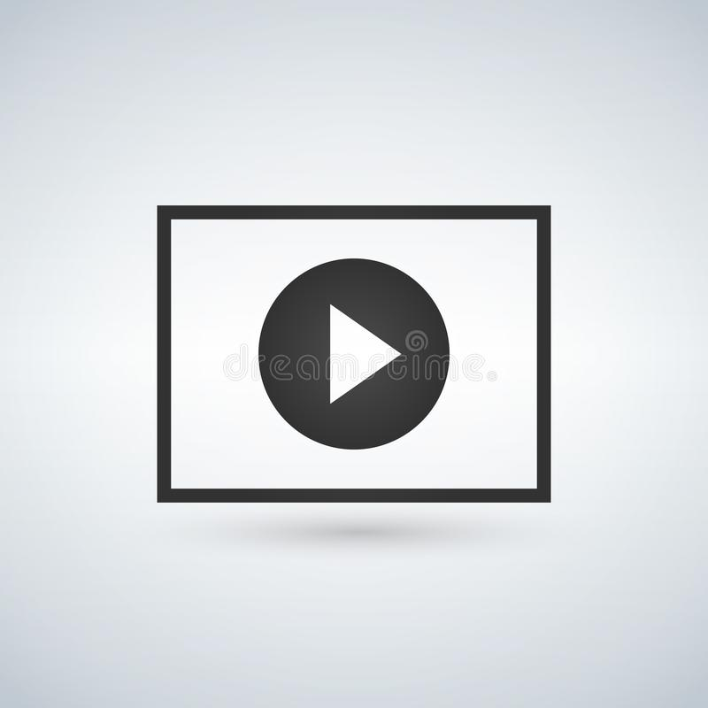 Play circle button in square stock illustration