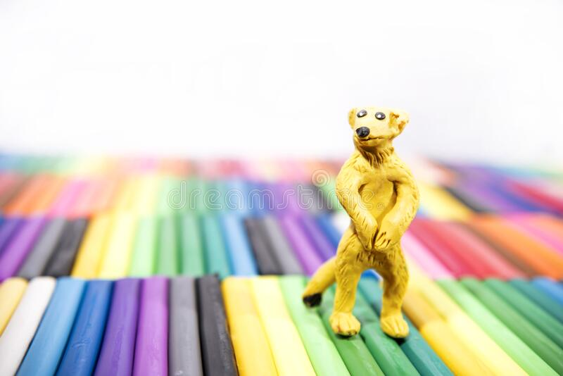 Play clay Animals. Wisdom on colored background.  royalty free stock image