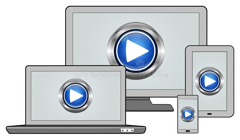 Play concept on different devices. Play concept shown on different information technology devices vector illustration