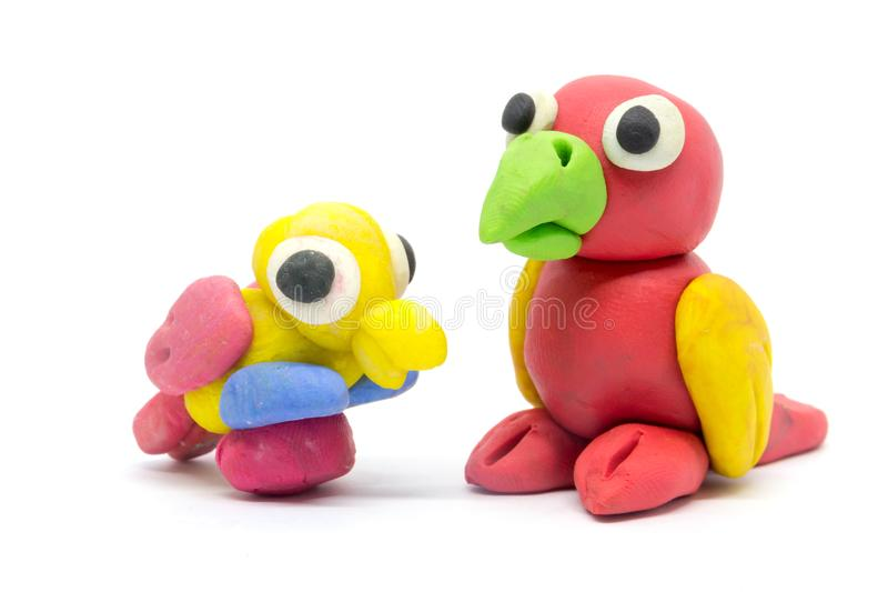 Play dough Bird on white background.  royalty free stock photography