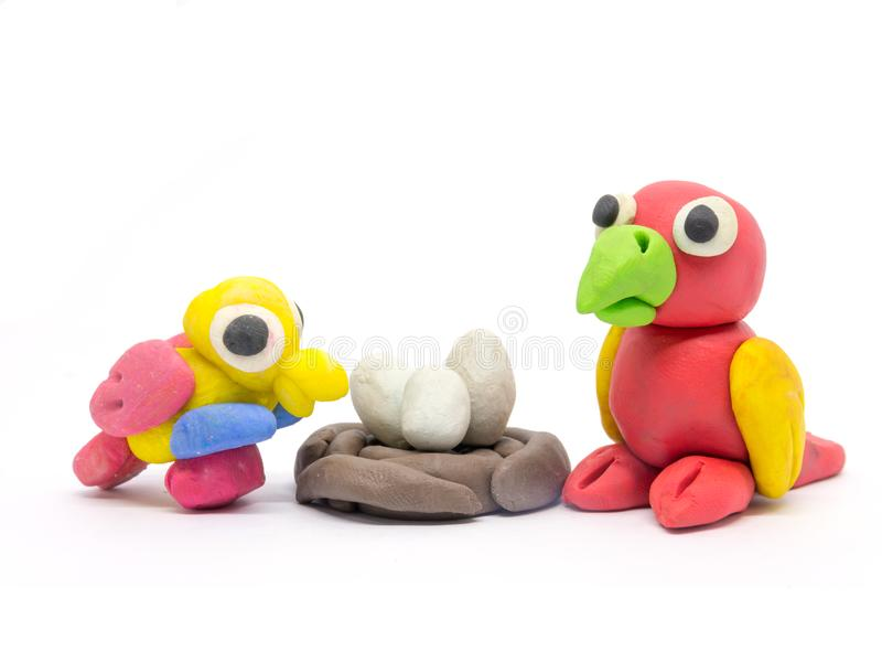 Play dough Bird on white background.  royalty free stock images