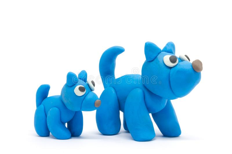 Play dough Dog father and son on white background.  royalty free stock photos