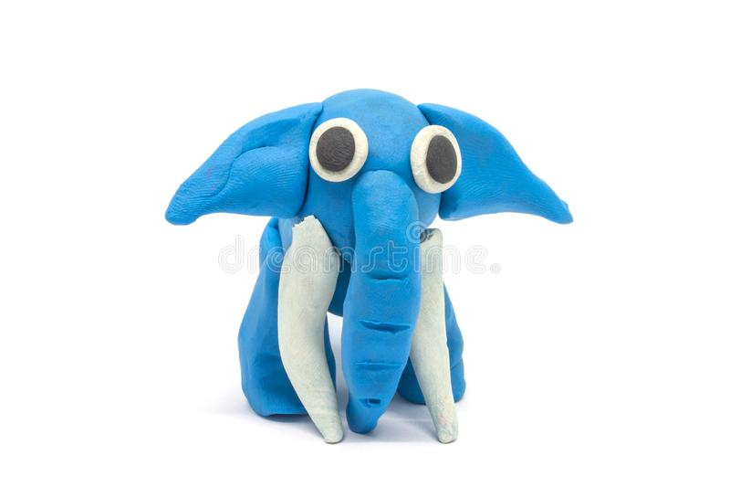 Play dough Elephant on white background.  royalty free stock photo