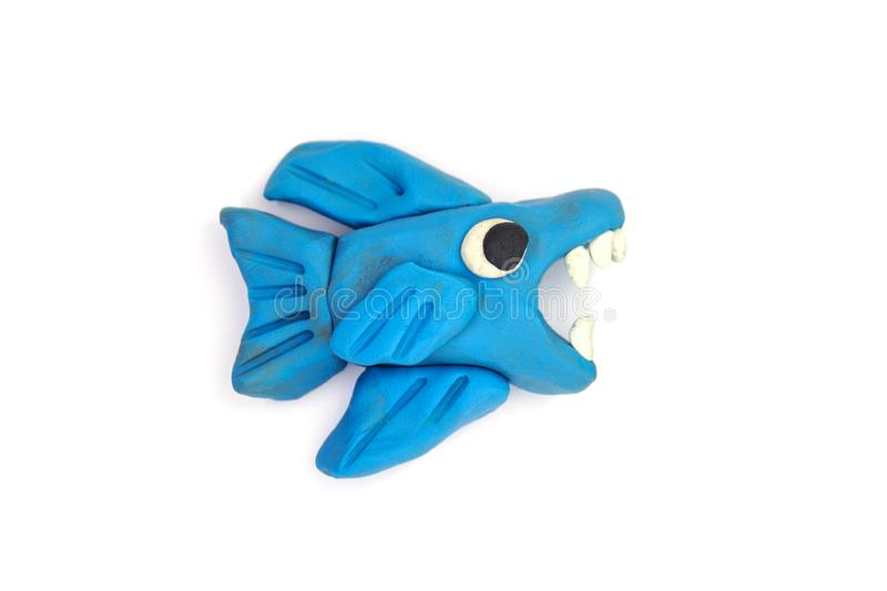 Play dough Fish on white background.  royalty free stock photography