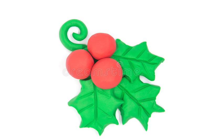Play dough flower christmas on white background.  stock image