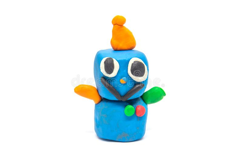Play dough robot on white background.  stock image
