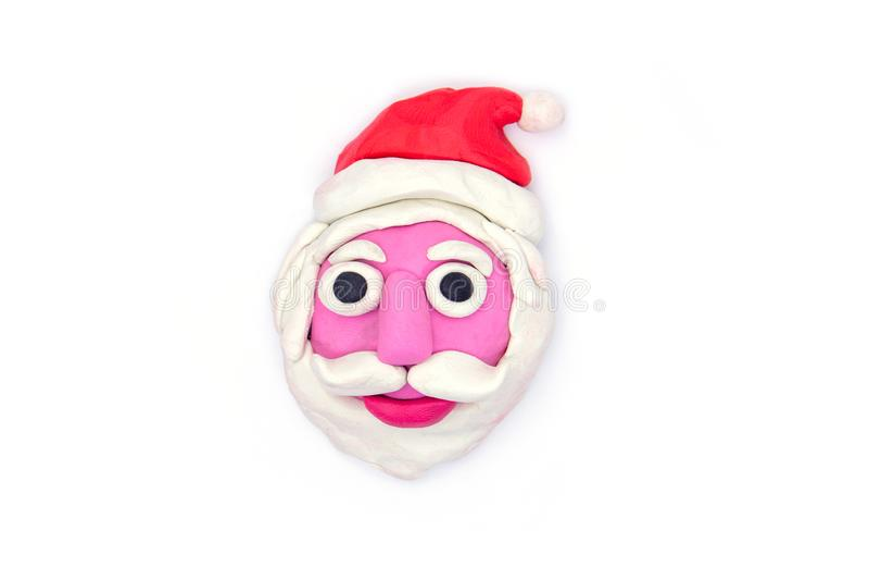 Play dough Santa claus on white background.  royalty free stock image