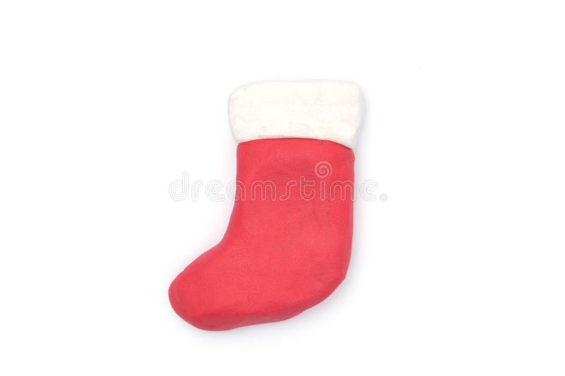 Play dough Sock christmas on white background.  stock photography