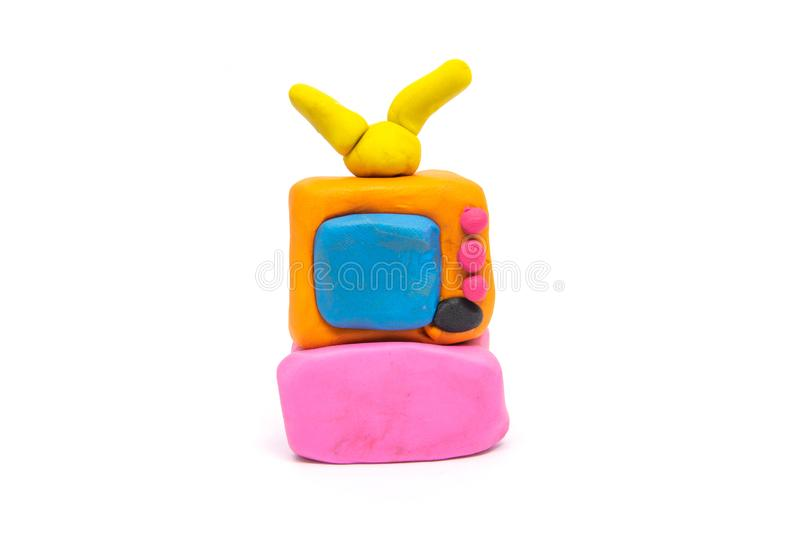 Play dough televisions on white background.  royalty free stock photo
