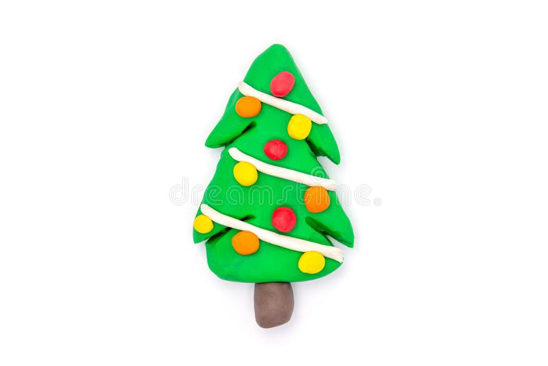 Play dough Tree christmas on white background.  royalty free stock photo