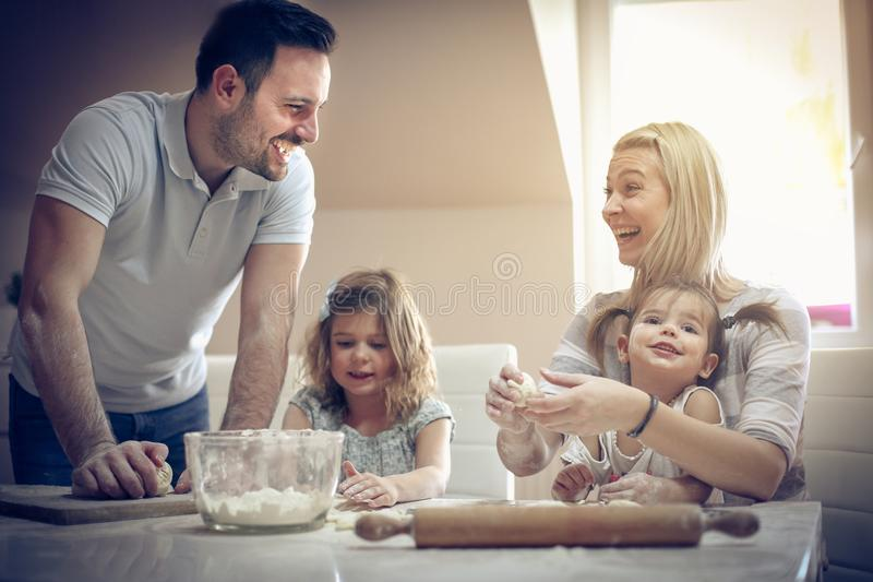 Play and fun in kitchen. royalty free stock photography