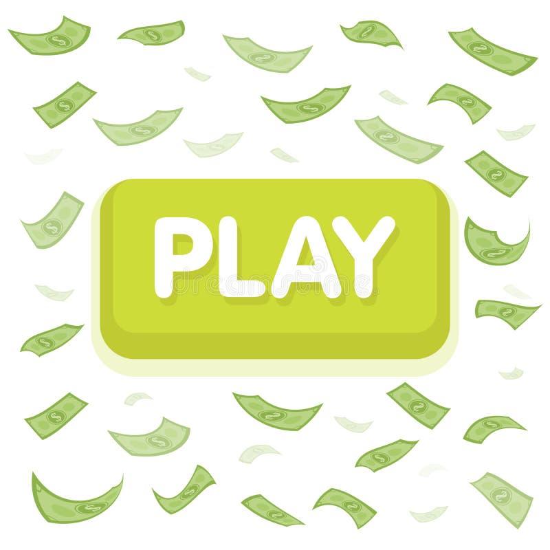 Play game concept. Dollar money rain. Hundred banknotes flying. Seamless finance background. Vector illustration royalty free illustration