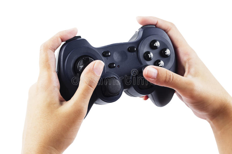 Play game with a joystick stock image