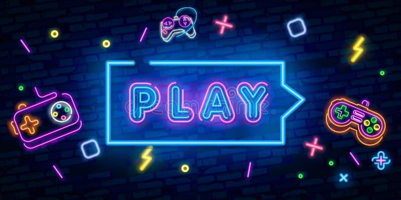 Play Game Place. Gambling slogan, Casino, Betting design element, Night neon signboard. Vector illustration vector illustration