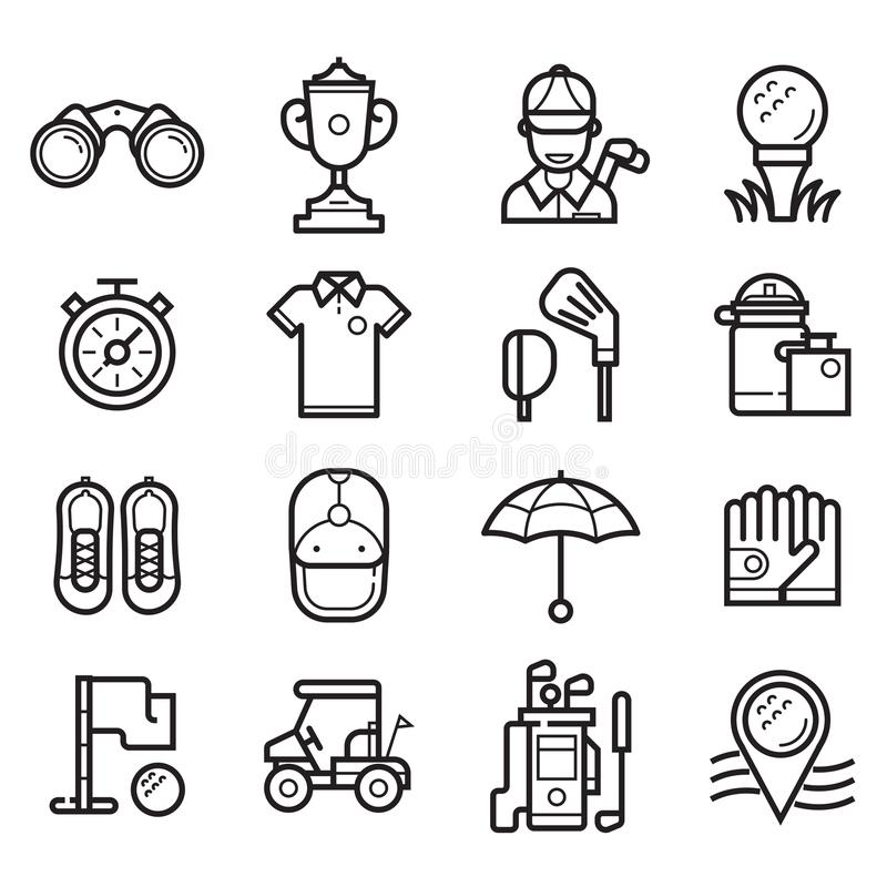 Play Golf Outline Icons. Golf icons set in line art style. Golf club, ball, golfer, bag, umbrella and other elements and accessories stock illustration