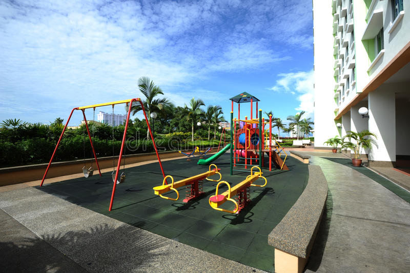 Play ground. Colours play ground image at the gardens area stock photography