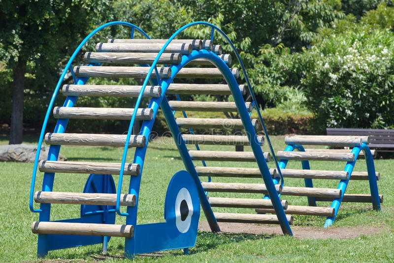 Play ground. And blue sky in pubic park royalty free stock photo