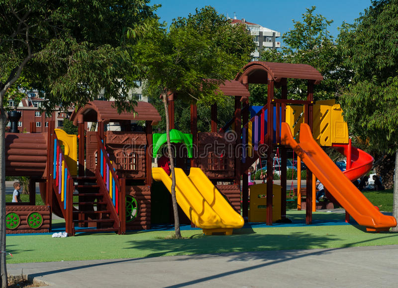 Play Ground. Colorful play ground outside in a sunny day.with green surroundings in the city stock photos