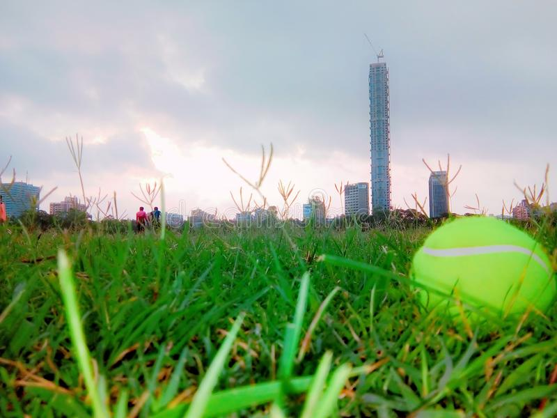 Play Ground. Morning view of a play ground near tallest building royalty free stock photography