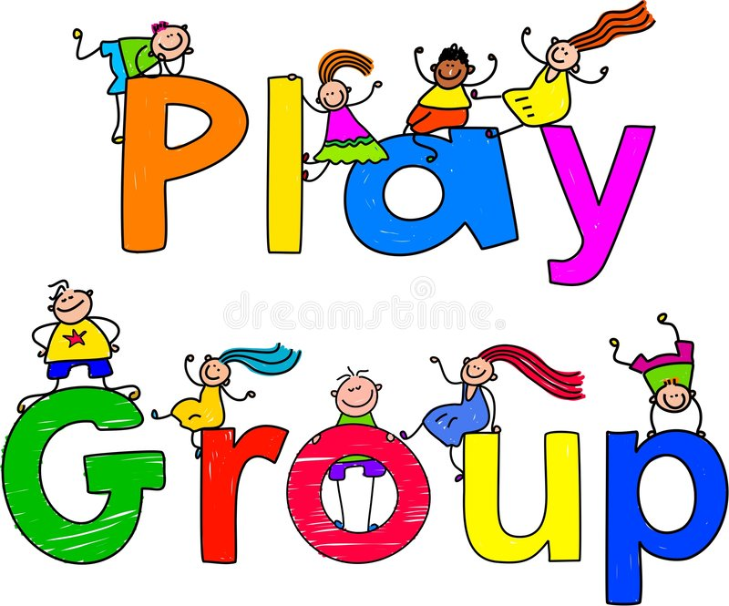 Play group. Group of happy and diverse kids climbing over the words PLAY GROUP vector illustration