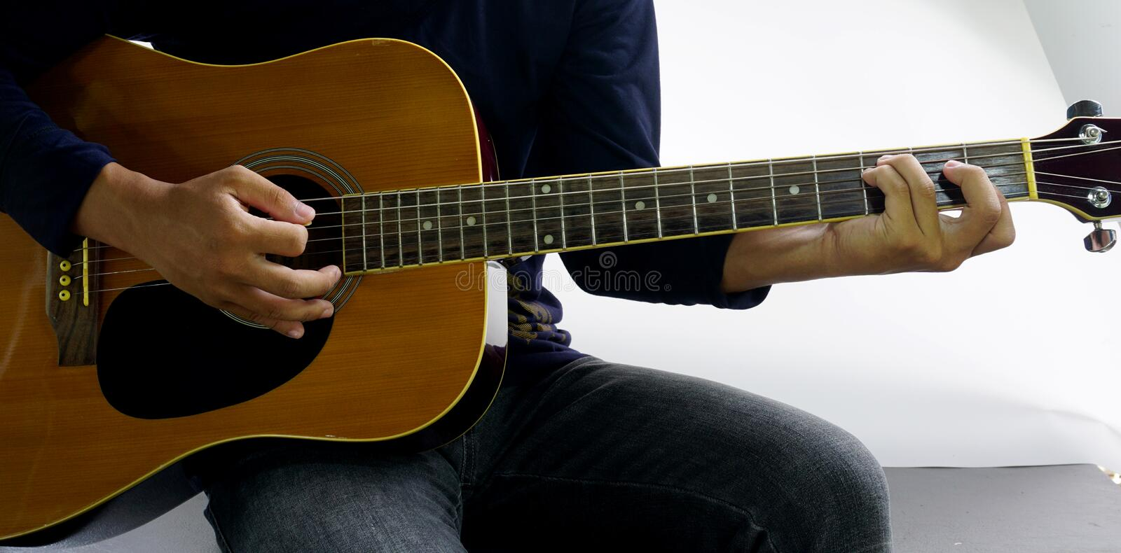 Play A Guitar Chord Csus4 Stock Image Image Of Song 95723407