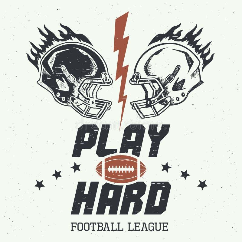 Play hard american football illustration royalty free illustration
