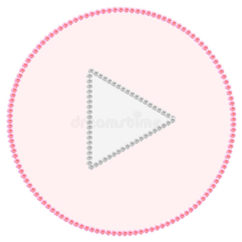 Icon - Play. A play icome made with pink and gray hibiscus flowers and pink and gray fill royalty free stock image