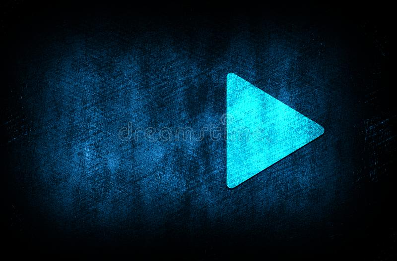 Play icon abstract blue background illustration digital texture design concept. Play icon abstract blue background illustration dark blue digital texture grunge royalty free stock photo