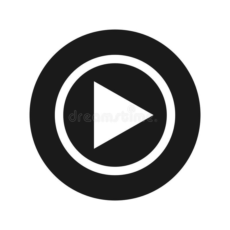Play icon flat black round button vector illustration. Play icon vector illustration design isolated on flat black round button stock illustration