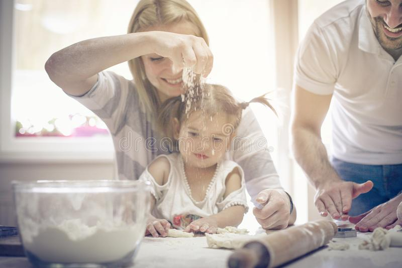 Play in kitchen. royalty free stock image