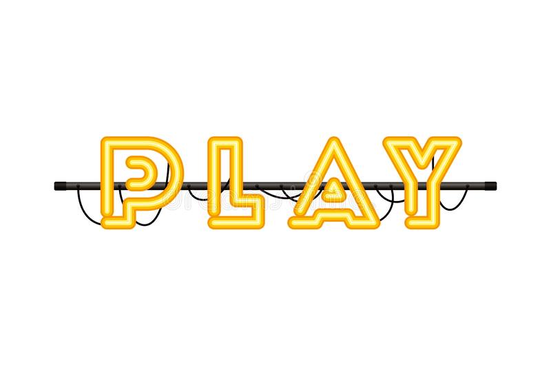 Play label in neon light icon royalty free illustration