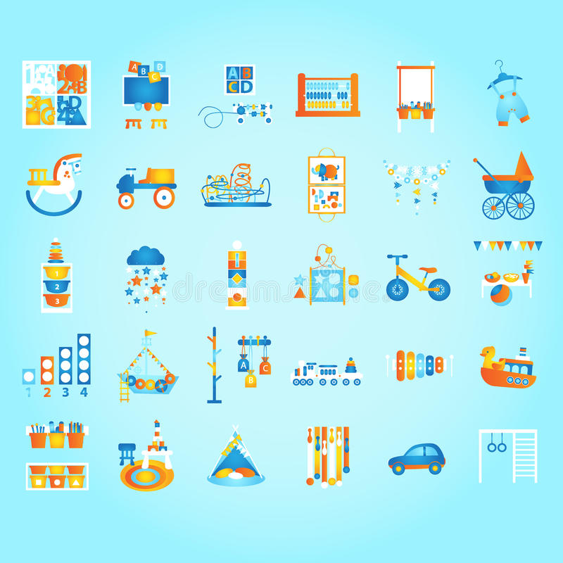 Play and Learn, Early developing. Preschool and Kids Set. Flat style vector illustration. royalty free stock photography