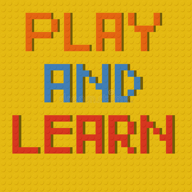 Play & learn on Lego board vector illustration