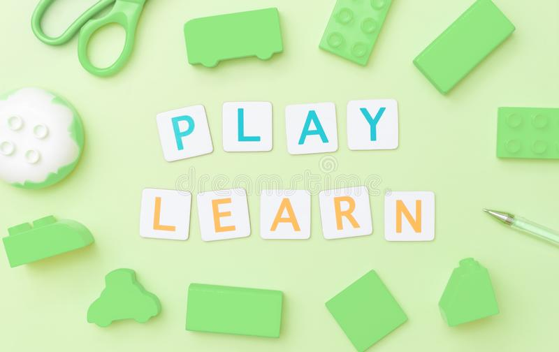 Play and Learn with toy objects for child education concept. Play and Learn with toy and objects for child education concept stock photography