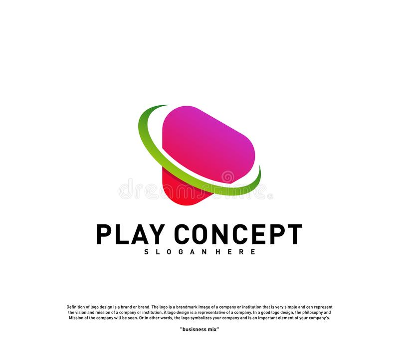 Play logo design concept. Planet Play logo template vector. Icon Symbol.  vector illustration