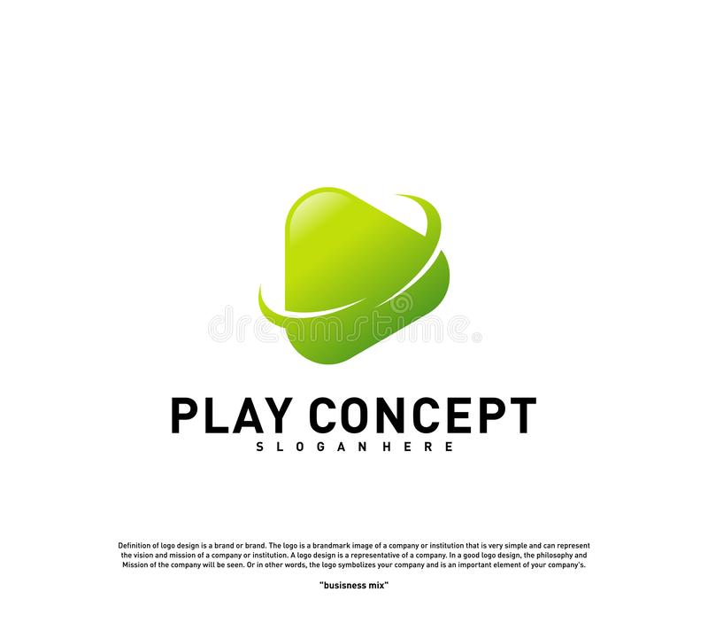 Play logo design concept. Planet Play logo template vector. Icon Symbol.  royalty free illustration