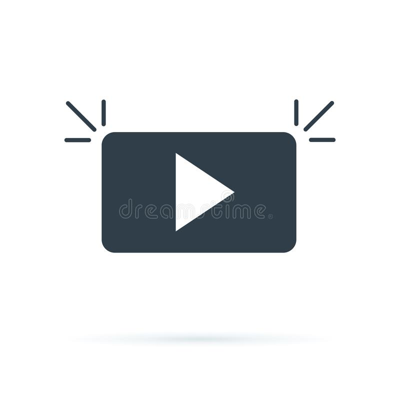 Play Media Button Symbol Logo Icon Vector. Play button icon in flat style. Streaming tv vector illustration stock illustration