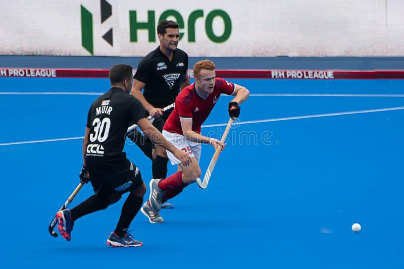 Great Britain v New Zealand - Men`s FIH Field Hockey Pro League. Play at the men`s FIH Pro Hockey League match between GB and New Zealand at Twickenham Stoop stock photo