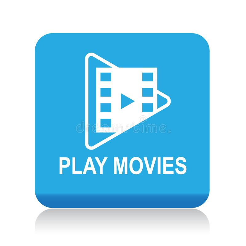 Play movies button. Play movie web button - editable vector illustration on isolated white background stock illustration