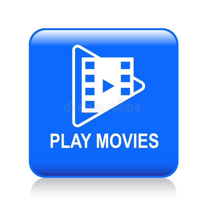 Play movies button. Play movie web button - editable vector illustration on isolated white background vector illustration