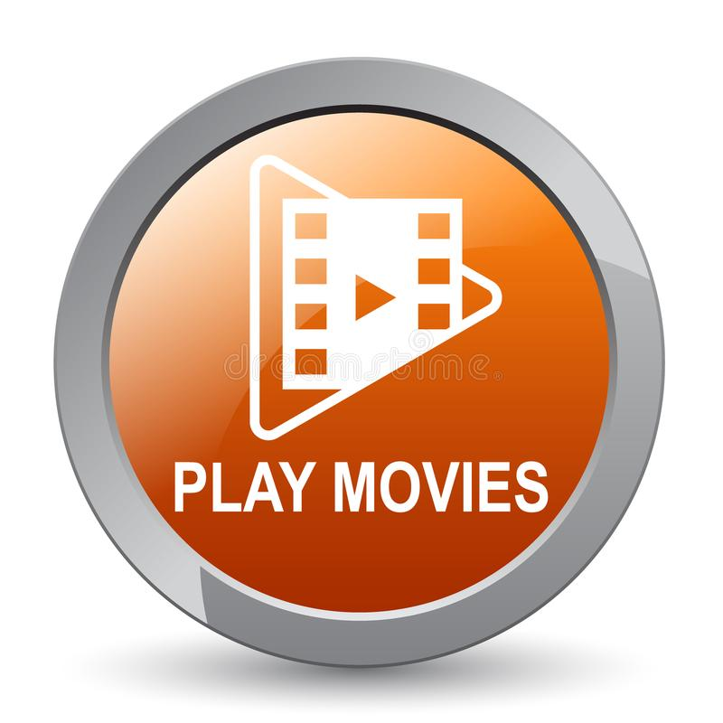 Play movies button. Play movie web button - editable vector illustration on isolated white background royalty free illustration