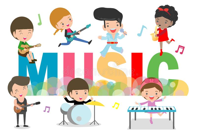 Play music concept of children group. Kids playing musical instruments, cute child musician various actions playing music. Around big Letter. vector stock illustration