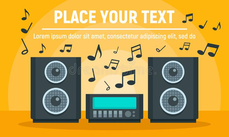Play music stereo system concept banner, flat style stock illustration