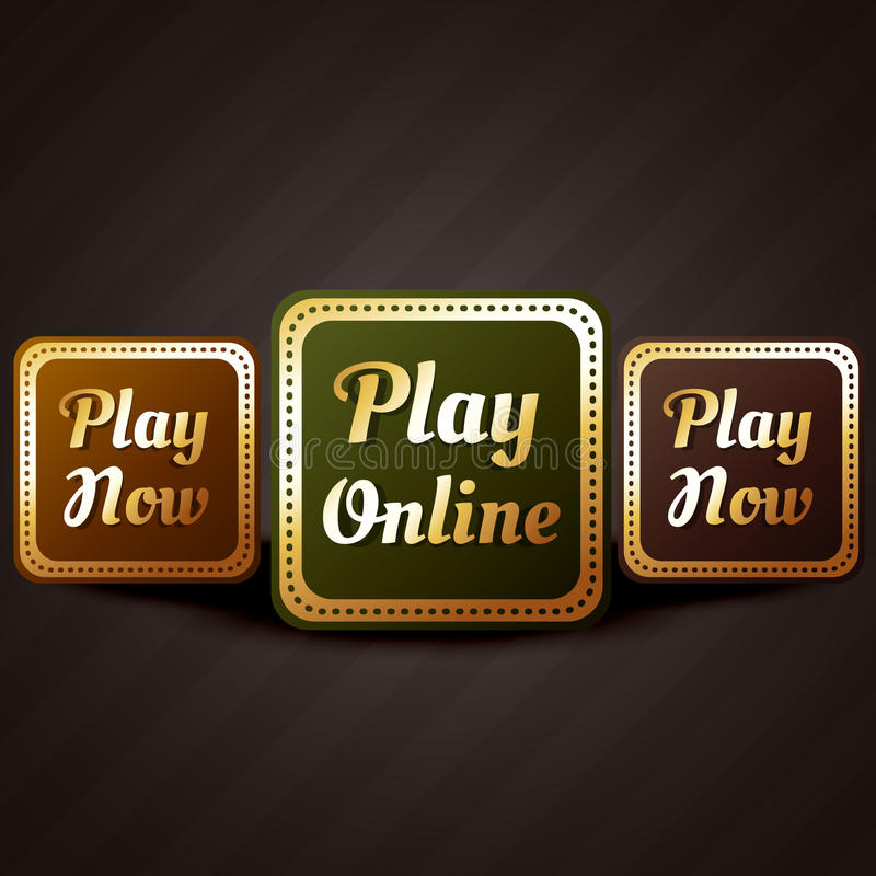 Play online casino style game button vector design royalty free illustration
