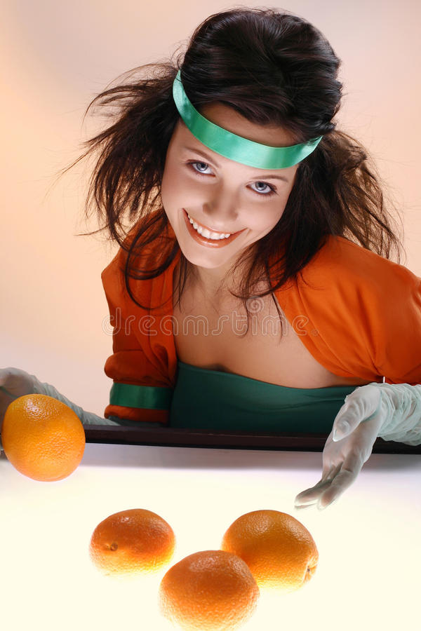 Play with oranges royalty free stock photos