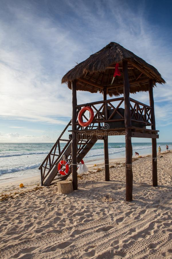 On the Play Paraiso at Caribbean Sea of Mexico. royalty free stock images
