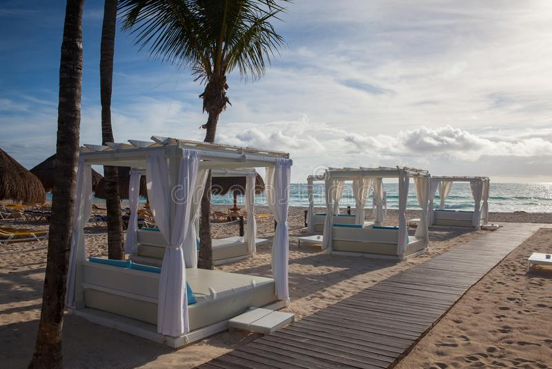 On the Play Paraiso at Caribbean Sea of Mexico. royalty free stock image