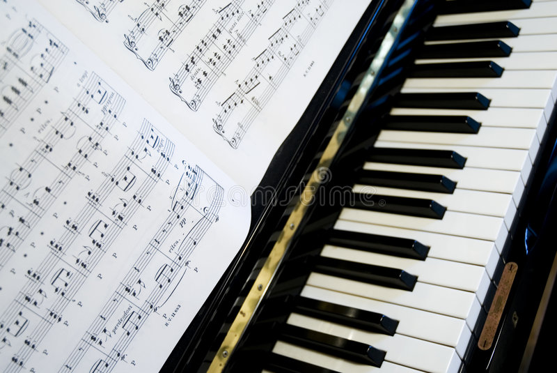 Play the piano. With notes on paper royalty free stock photo